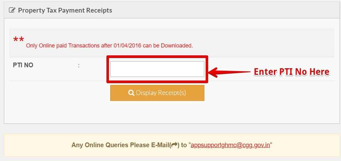 DOWNLOAD GHMC PROPERTY TAX PAYMENT RECEIPTS