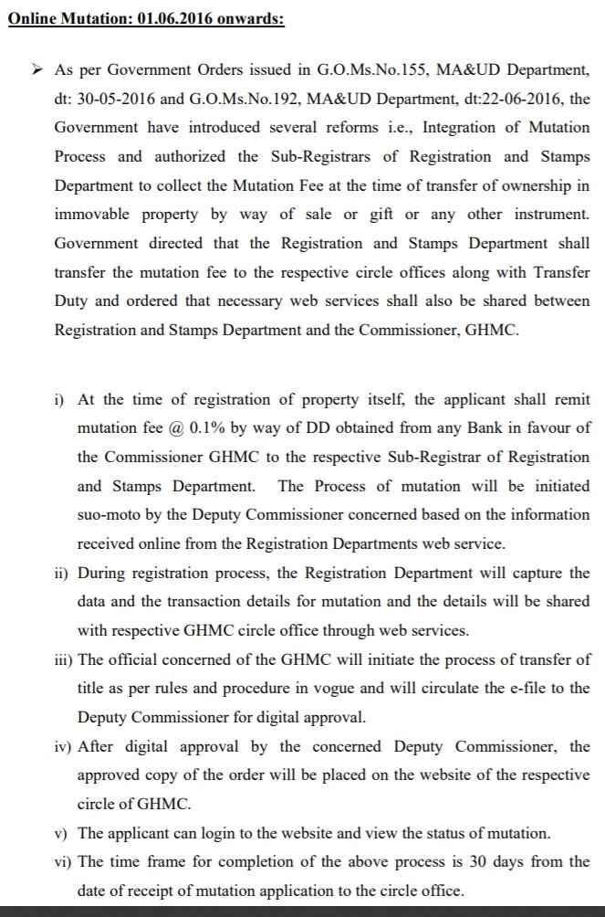 Apply for Mutation of Property Tax Online Greater Hyderabad Municipal Corporation (GHMC)