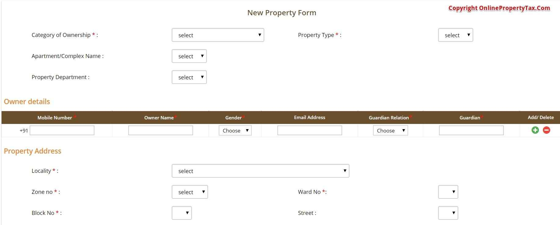 NEW PROPERTY FORM