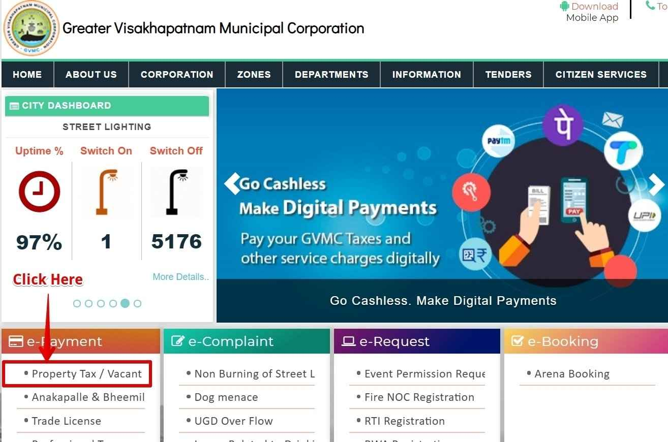 GVMC Property Tax Online Payment in Greater Visakhapatnam Municipal Corporation –Andhra Pradesh