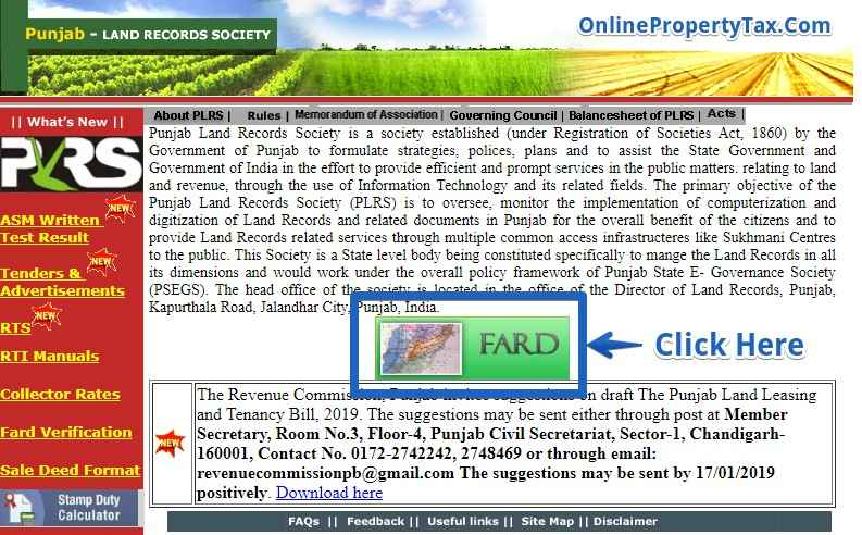 PLRS Punjab Land Records Society Check Fard Online Home Page
